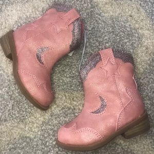 Pink star and moon sparkle cowgirl boots NWT sz4